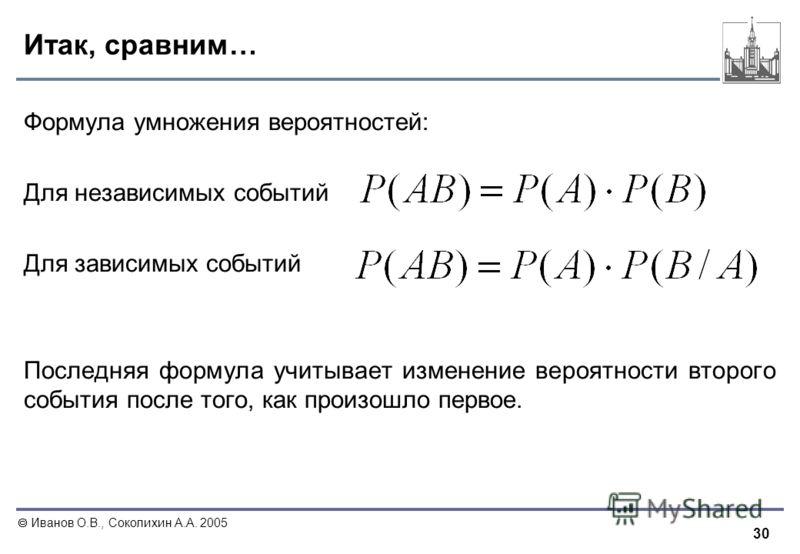 30 Иванов О.В., Соколихин А.А. 2005 Итак, сравним… Формула умножения вероятностей: Для независимых событий Для зависимых событий Последняя формула учитывает изменение вероятности второго события после того, как произошло первое.