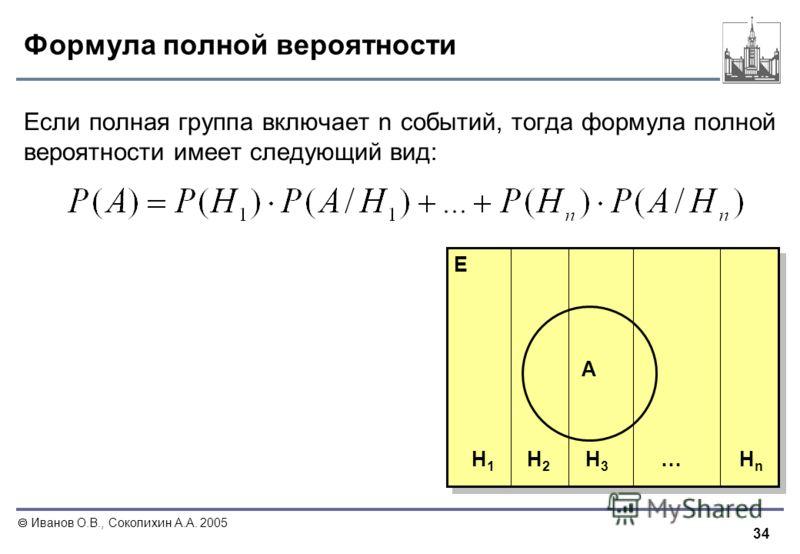 34 Иванов О.В., Соколихин А.А. 2005 Формула полной вероятности H1H1 E H2H2 HnHn H3H3 … A Если полная группа включает n событий, тогда формула полной вероятности имеет следующий вид: