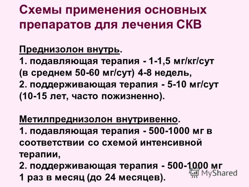 Схемы применения основных препаратов для лечения СКВ Преднизолон внутрь. 1. подавляющая терапия - 1-1,5 мг/кг/сут (в среднем 50-60 мг/сут) 4-8 недель, 2. поддерживающая терапия - 5-10 мг/сут (10-15 лет, часто пожизненно). Метилпреднизолон внутривенно