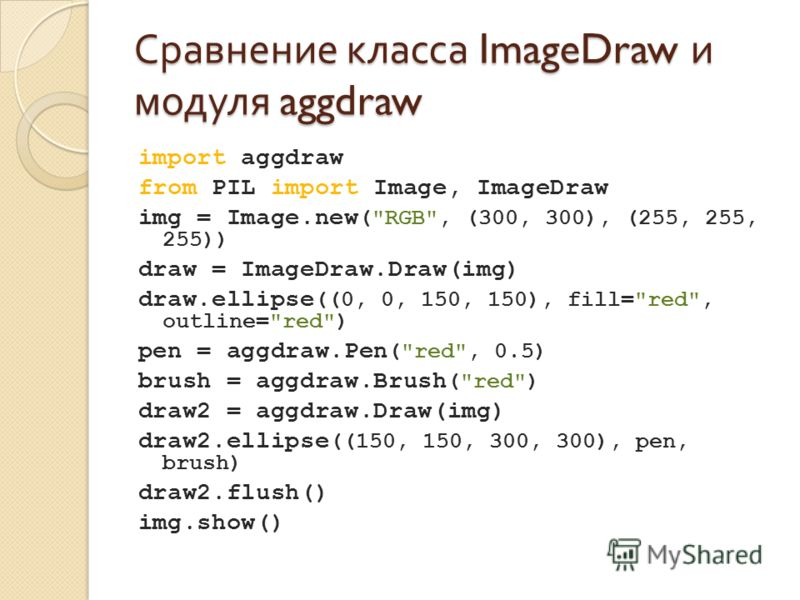 Сравнение класса ImageDraw и модуля aggdraw import aggdraw from PIL import Image, ImageDraw img = Image.new (