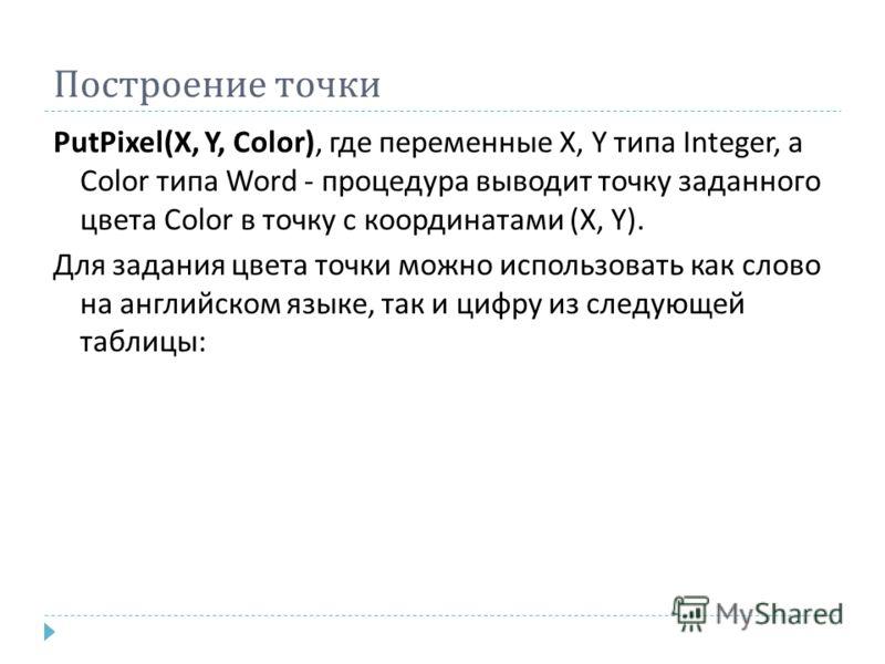Построение точки PutPixel(X, Y, Color), где переменные X, Y типа Integer, а Color типа Word - процедура выводит точку заданного цвета Color в точку с координатами (X, Y). Для задания цвета точки можно использовать как слово на английском языке, так и