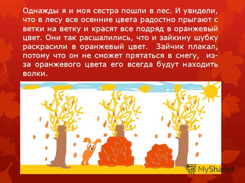 Однажды я и моя сестра пошли в лес. И увидели, что в лесу все осенние цвета радостно прыгают с ветки на ветку и красят все подряд в оранжевый цвет. Они так расшалились, что и зайкину шубку раскрасили в оранжевый цвет. Зайчик плакал, потому что он не