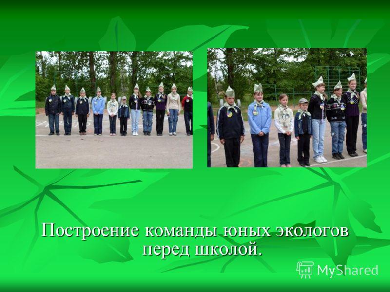 Построение команды юных экологов перед школой.