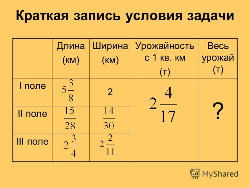 Краткая запись условия задачи Длина (км) Ширина (км) Урожайность с 1 кв. км (т) Весь урожай (т) I поле 2 ? II поле III поле