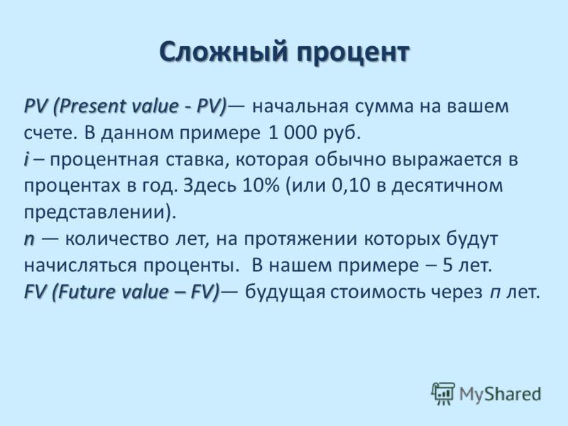 Сложный процент Пример: Пример: Вы положили 1 000 руб. на банковский счет из расчета процентной ставки в 10% годовых. Сумма, которую вы получите через пять лет при условии, что не возьмете ни рубля до истечения этого срока, называется будущей стоимос