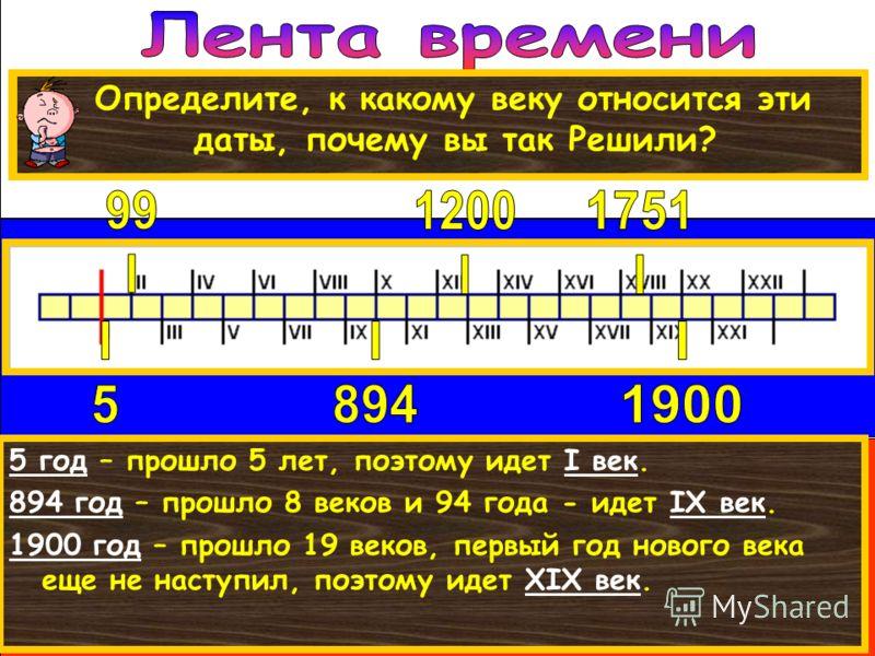 Чтобы правильно располагать события на ленте времени, нужно уметь определять век. 5 год – прошло 5 лет, поэтому идет I век. 894 год – прошло 8 веков и 94 года - идет IX век. 1900 год – прошло 19 веков, первый год нового века еще не наступил, поэтому