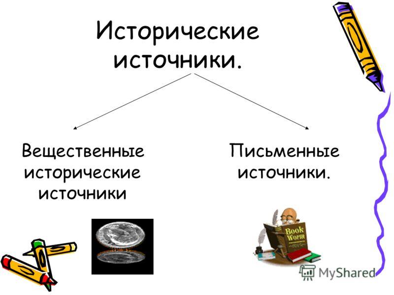 Исторические источники. Вещественные исторические источники Письменные источники.