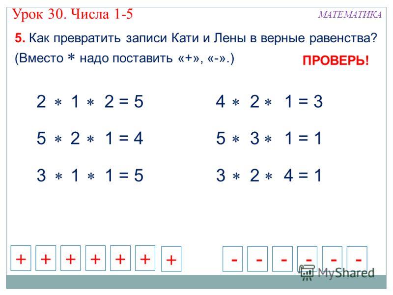 5. Как превратить записи Кати и Лены в верные равенства? (Вместо надо поставить «+», «-».) МАТЕМАТИКА 2 1 2 = 5 5 2 1 = 4 3 1 1 = 5 4 2 1 = 3 5 3 1 = 1 3 2 4 = 1 ++++++ - - - - - -+ ПРОВЕРЬ! Урок 30. Числа 1-5