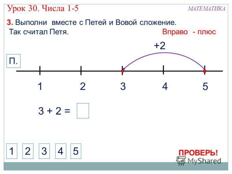 1324 МАТЕМАТИКА 1234 3. Выполни вместе с Петей и Вовой сложение. Так считал Петя. +2 5 Вправо - плюс П. 5 3 + 2 = ПРОВЕРЬ! Урок 30. Числа 1-5