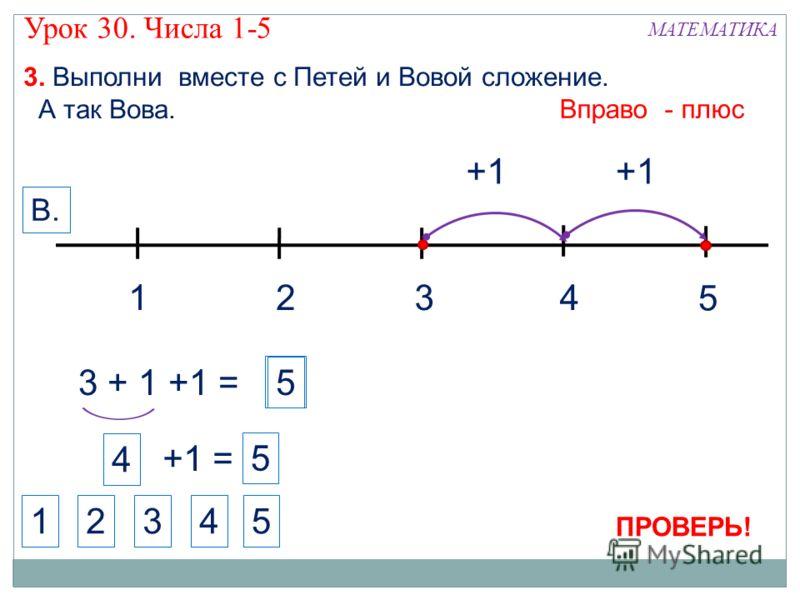1324 МАТЕМАТИКА 1234 3. Выполни вместе с Петей и Вовой сложение. А так Вова. +1 5 Вправо - плюс В. 5 3 + 1 +1 = +1 4 +1 = 5 5 ПРОВЕРЬ! Урок 30. Числа 1-5