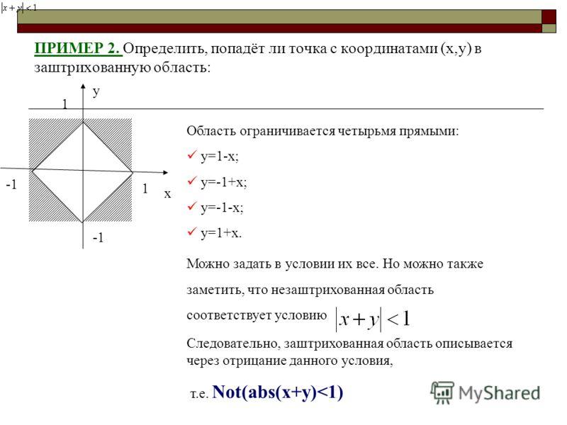 ПРИМЕР 2. Определить, попадёт ли точка с координатами (x,y) в заштрихованную область: x y 1 1 Область ограничивается четырьмя прямыми: y=1-x; y=-1+x; y=-1-x; y=1+x. Можно задать в условии их все. Но можно также заметить, что незаштрихованная область
