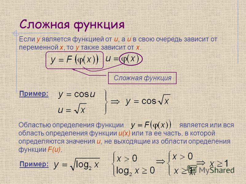 Сложная функция Если y является функцией от u, а u в свою очередь зависит от переменной x, то y также зависит от x. Сложная функция Пример: Областью определения функции является или вся область определения функции u(x) или та ее часть, в которой опре