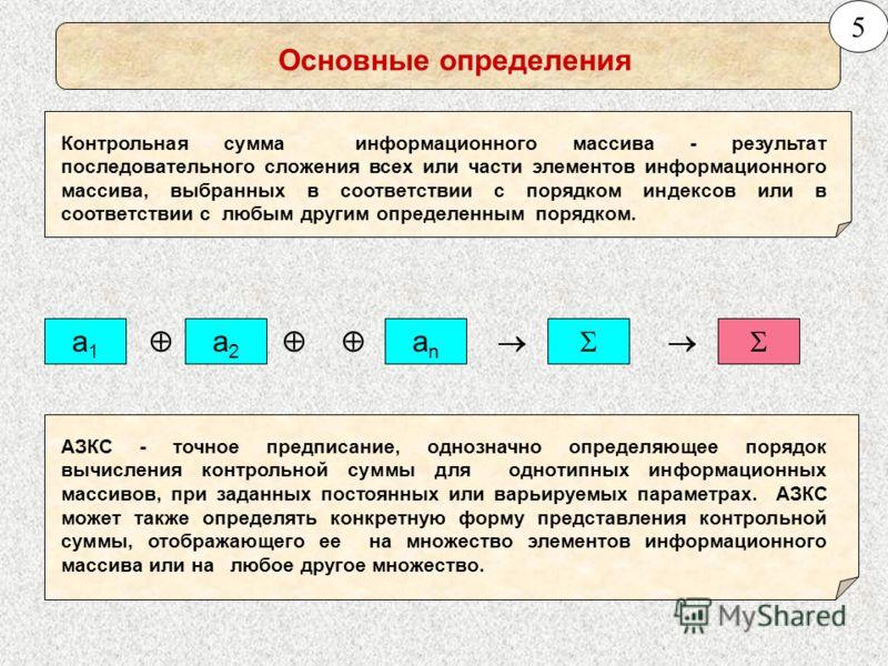 Основные определения Контрольная сумма информационного массива - результат последовательного сложения всех или части элементов информационного массива, выбранных в соответствии с порядком индексов или в соответствии с любым другим определенным порядк