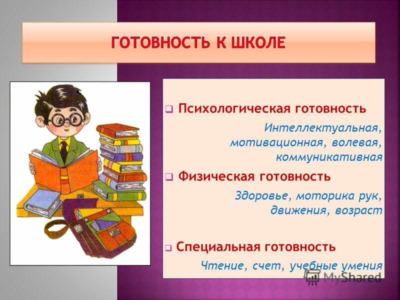 Психологическая готовность Интеллектуальная, мотивационная, волевая, коммуникативная Физическая готовность Здоровье, моторика рук, движения, возраст Специальная готовность Чтение, счет, учебные умения