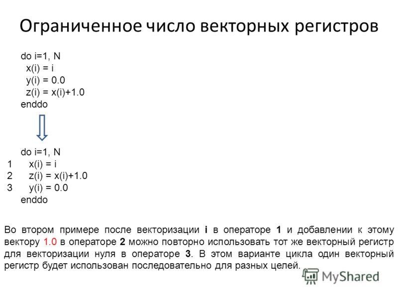 Ограниченное число векторных регистров do i=1, N x(i) = i y(i) = 0.0 z(i) = x(i)+1.0 enddo do i=1, N 1 x(i) = i 2 z(i) = x(i)+1.0 3 y(i) = 0.0 enddo Во втором примере после векторизации i в операторе 1 и добавлении к этому вектору 1.0 в операторе 2 м
