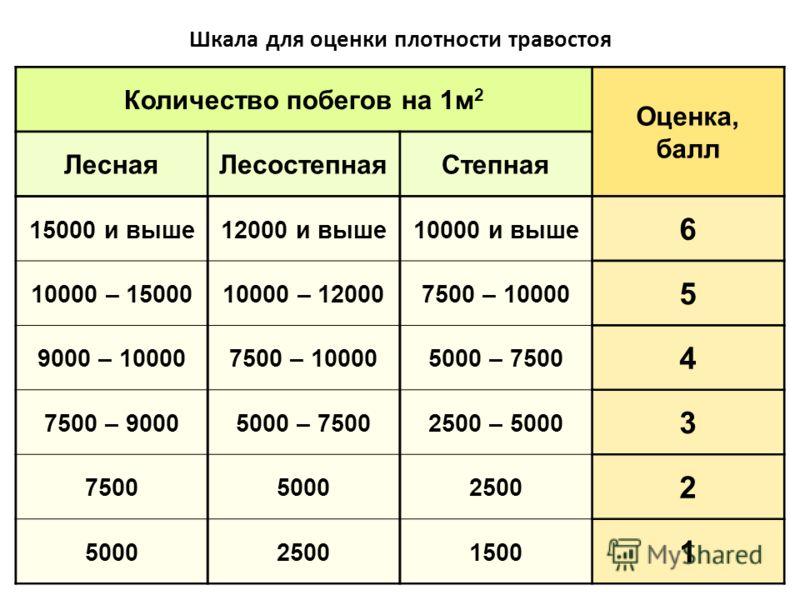 Шкала для оценки плотности травостоя Количество побегов на 1м 2 Оценка, балл ЛеснаяЛесостепнаяСтепная 15000 и выше12000 и выше10000 и выше 6 10000 – 1500010000 – 120007500 – 10000 5 9000 – 100007500 – 100005000 – 7500 4 7500 – 90005000 – 75002500 – 5