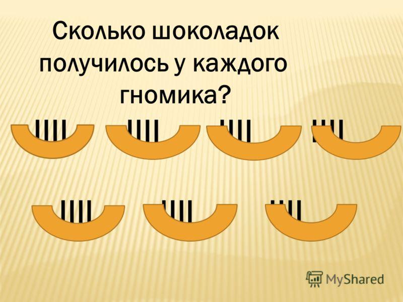 Сколько шоколадок получилось у каждого гномика? IIII IIII IIII IIII IIII IIII IIII