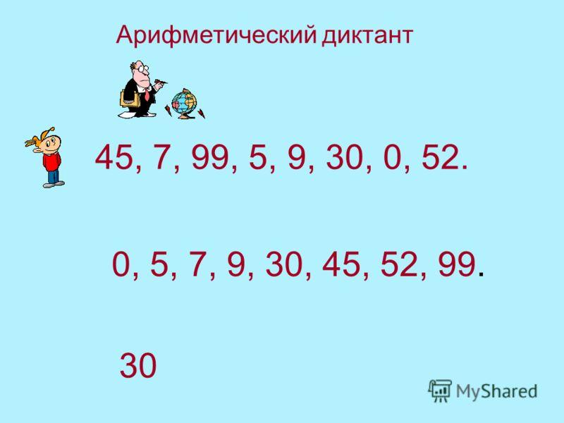 45, 7, 99, 5, 9, 30, 0, 52. 0, 5, 7, 9, 30, 45, 52, 99. 30 Арифметический диктант