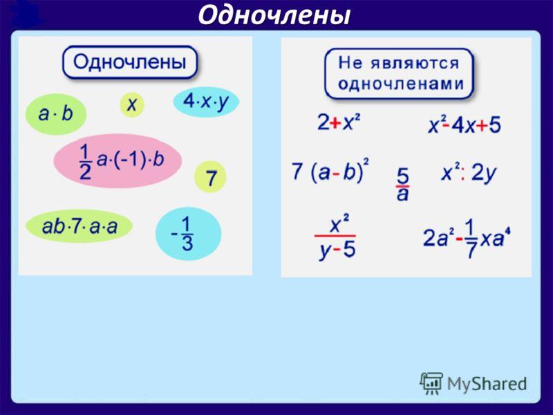 Выражения состоящие из произведений чисел, переменных и их степеней называют одночленами. Одночлены