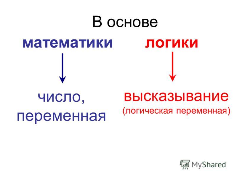 математикилогики В основе число, переменная высказывание (логическая переменная)