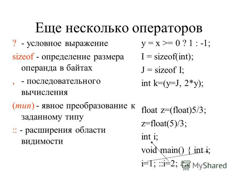Поразрядные операции &И&И |ИЛИ ^Сложение по модулю два ~Дополнение к 1 >>Сдвиг вправо 1; // 0110>>1=0011=3 x