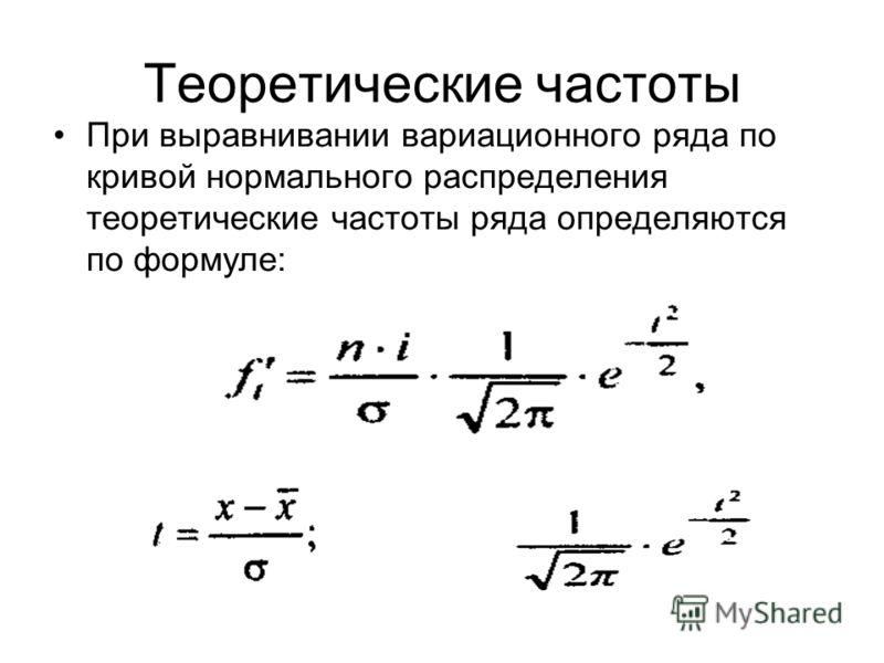 Теоретические частоты При выравнивании вариационного ряда по кривой нормального распределения теоретические частоты ряда определяются по формуле: