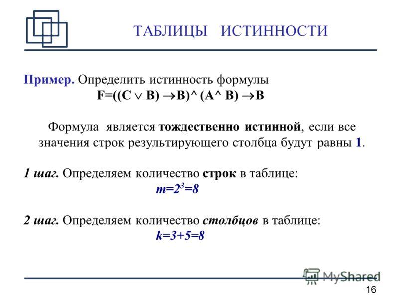 16 ТАБЛИЦЫ ИСТИННОСТИ Пример. Определить истинность формулы F=((C B) B)^ (A^ B) B Формула является тождественно истинной, если все значения строк результирующего столбца будут равны 1. 1 шаг. Определяем количество строк в таблице: m=2 3 =8 2 шаг. Опр