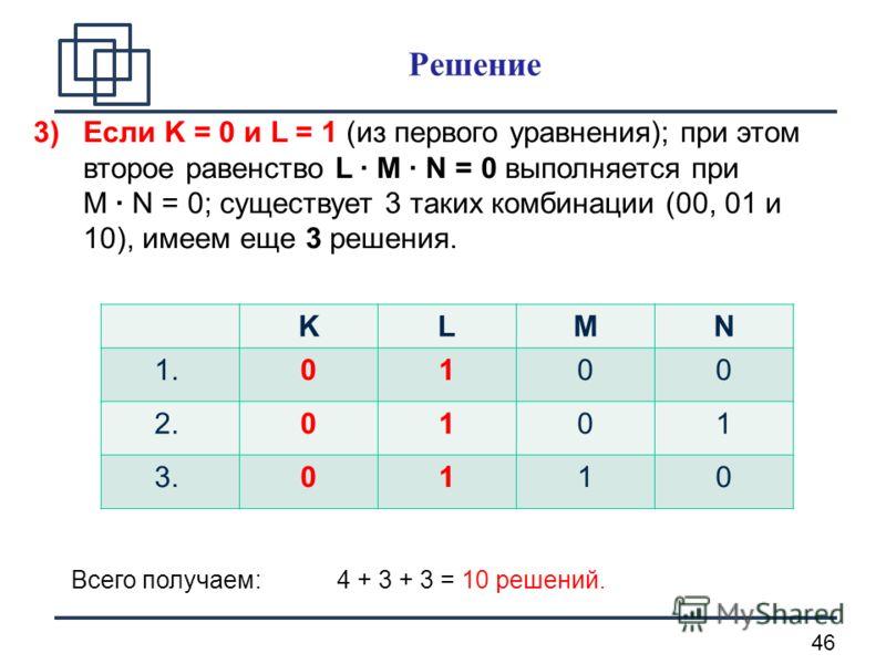 46 3)Если K = 0 и L = 1 (из первого уравнения); при этом второе равенство L · M · N = 0 выполняется при М · N = 0; существует 3 таких комбинации (00, 01 и 10), имеем еще 3 решения. KLМN 1.0100 2.0101 3.0110 Всего получаем: 4 + 3 + 3 = 10 решений. Реш