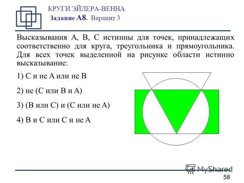 58 КРУГИ ЭЙЛЕРА-ВЕННА Задание А8. Вариант 3 Высказывания A, B, C истинны для точек, принадлежащих соответственно для круга, треугольника и прямоугольника. Для всех точек выделенной на рисунке области истинно высказывание: 1) C и не A или не B 2) не (