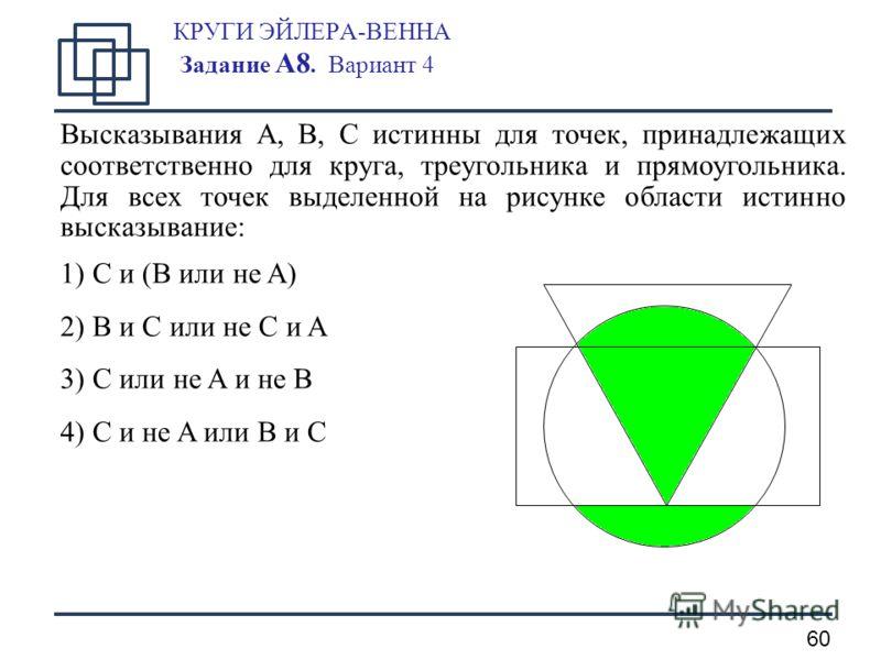 60 КРУГИ ЭЙЛЕРА-ВЕННА Задание А8. Вариант 4 Высказывания A, B, C истинны для точек, принадлежащих соответственно для круга, треугольника и прямоугольника. Для всех точек выделенной на рисунке области истинно высказывание: 1) C и (B или не A) 2) B и C