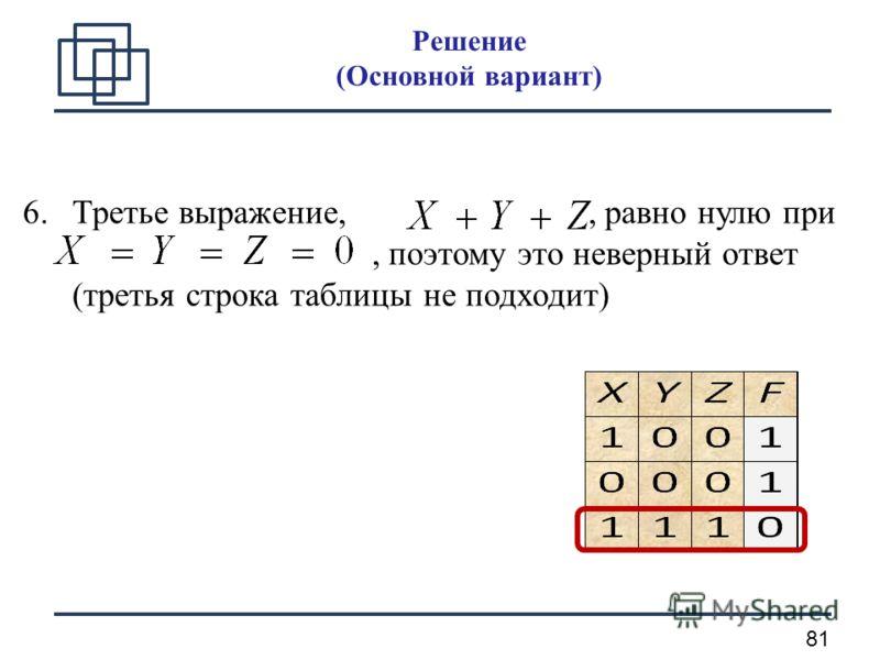 81 6.Третье выражение,, равно нулю при, поэтому это неверный ответ (третья строка таблицы не подходит) Решение (Основной вариант)