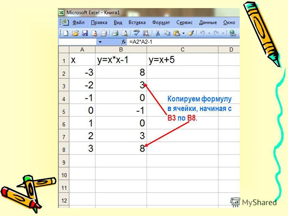 В ячейку В2 записываем формулу после знака =
