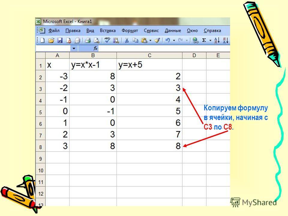 В ячейку С2 записываем формулу после знака =