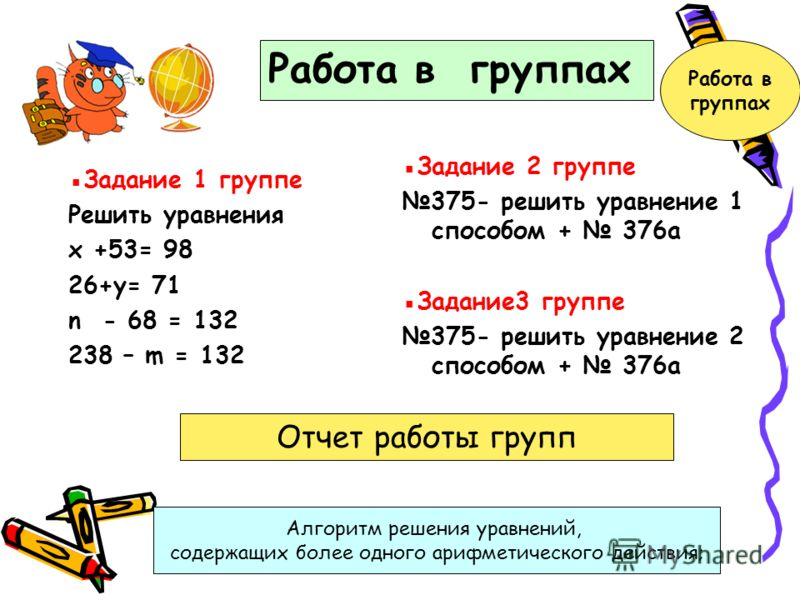 Задание 1 группе Решить уравнения х +53= 98 26+у= 71 n - 68 = 132 238 – m = 132 Задание 2 группе 375- решить уравнение 1 способом + 376а Задание3 группе 375- решить уравнение 2 способом + 376а Работа в группах Отчет работы групп Алгоритм решения урав