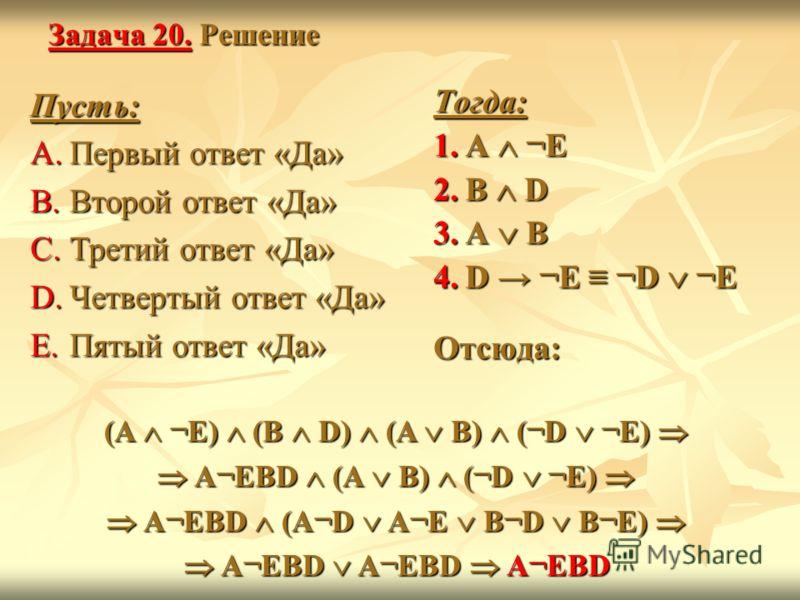 Задача 20. Решение Пусть: A.Первый ответ «Да» B.Второй ответ «Да» C.Третий ответ «Да» D.Четвертый ответ «Да» E.Пятый ответ «Да» Тогда: 1.A ¬E 2.B D 3.A B 4.D ¬E ¬D ¬E Отсюда: (A ¬E) (B D) (A B) (¬D ¬E) A¬EBD (A B) (¬D ¬E) A¬EBD (A¬D A¬E B¬D B¬E) A¬EB