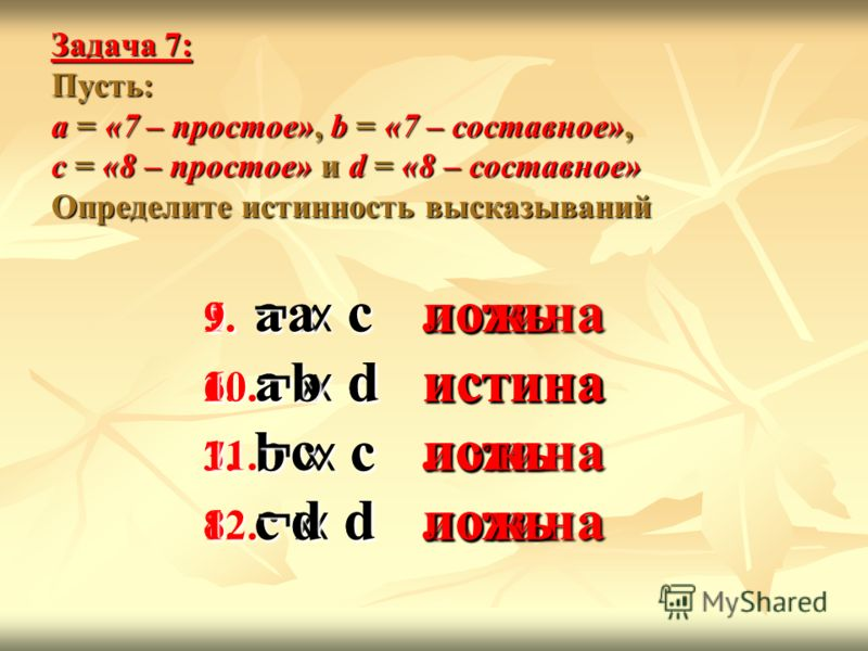 Задача 7: Пусть: а = «7 – простое», b = «7 – составное», с = «8 – простое» и d = «8 – составное» Определите истинность высказываний 1. а с 2. а d 3. b c 4. c d ложьистиналожьложь 5. а с 6. а d 7. b c 8. c d истинаистиналожьистина 9. ¬а 10. ¬b 11. ¬c