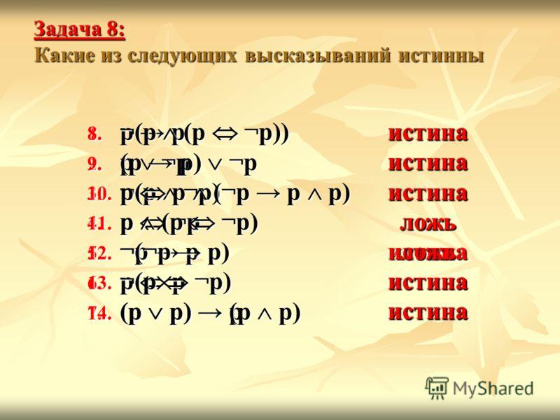 истинаистинаистиналожьистинаистинаистинаистинаистинаистиналожьложьистинаистина Задача 8: Какие из следующих высказываний истинны 1. p p 2. p ¬p 3. ¬(p ¬p) 4. p ¬p 5. ¬p p 6. p p 7. (p p) p 8. ¬(p (p ¬p)) 9. (p p) ¬p 10. p p (¬p p p) 11. p (p ¬p) 12.