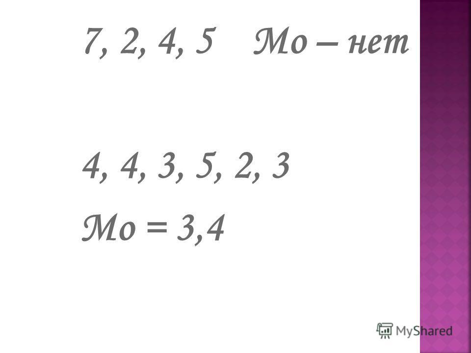 Модой ряда чисел называется число, наиболее часто встречающееся в данном ряду 3,2,4,5,3,2,4,4 Мо = 4