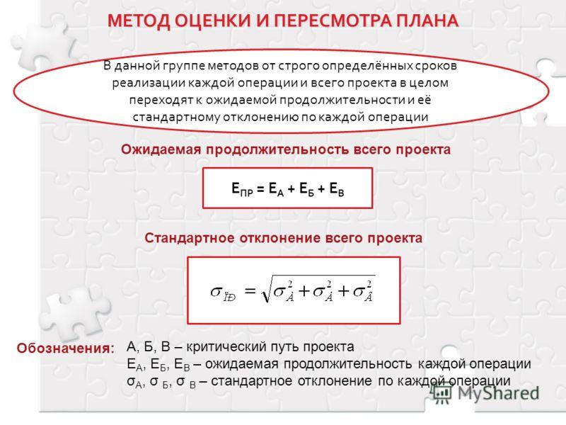 В данной группе методов от строго определённых сроков реализации каждой операции и всего проекта в целом переходят к ожидаемой продолжительности и её стандартному отклонению по каждой операции Обозначения: А, Б, В – критический путь проекта Е А, Е Б,