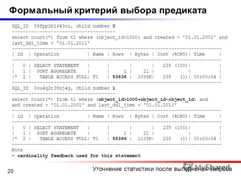 20 Уточнение статистики после выполнения запроса Формальный критерий выбора предиката SQL_ID 56fpp1b1643cu, child number 0 ------------------------------------- select count(*) from t1 where (object_id>1000) and created > '01.01.2001' and last_ddl_ti