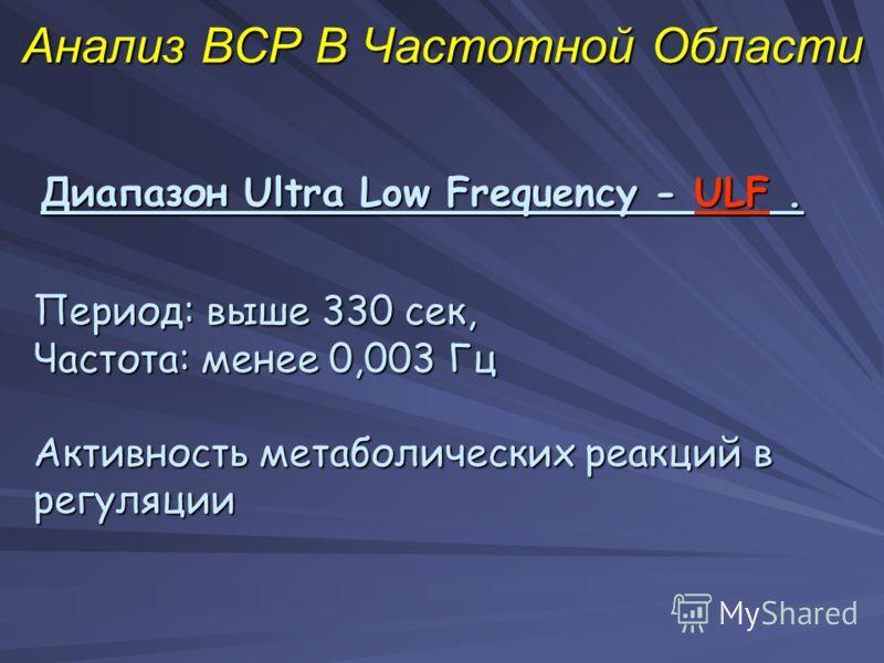 Анализ ВСР В Частотной Области Диапазон Ultra Low Frequency - ULF. Период: выше 330 сек, Частота: менее 0,003 Гц Активность метаболических реакций в регуляции