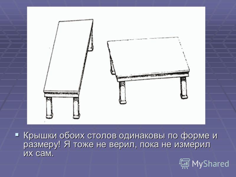 Крышки обоих столов одинаковы по форме и размеру! Я тоже не верил, пока не измерил их сам. Крышки обоих столов одинаковы по форме и размеру! Я тоже не верил, пока не измерил их сам.