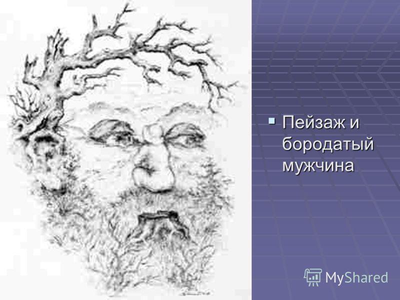 Пейзаж и бородатый мужчина Пейзаж и бородатый мужчина