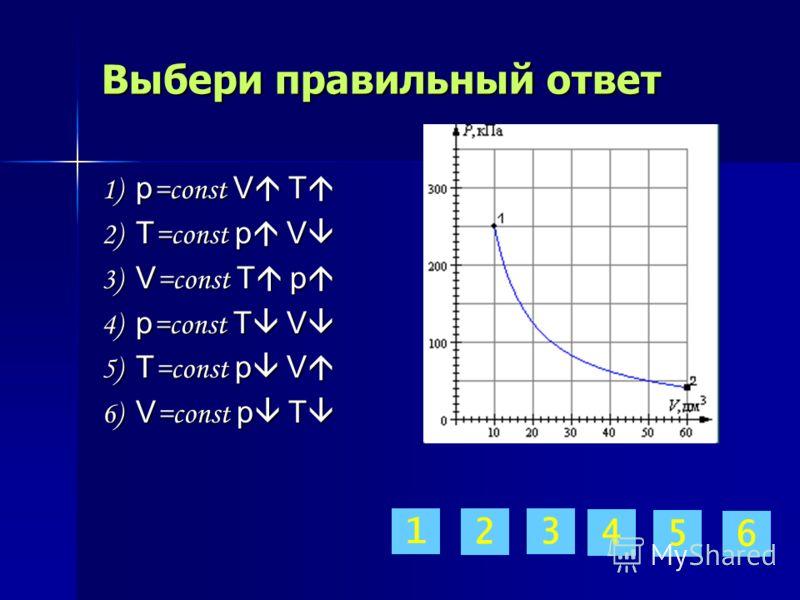 Выбери правильный ответ 1) p =const V T 1) p =const V T 2) T =const p V 2) T =const p V 3) V =const T p 3) V =const T p 4) p =const T V 4) p =const T V 5) T =const p V 5) T =const p V 6) V =const p T 6) V =const p T 1 2 3 4 5 6