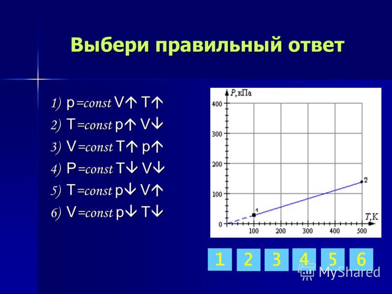 Выбери правильный ответ 1) p =const V T 1) p =const V T 2) T =const p V 2) T =const p V 3) V =const T p 3) V =const T p 4) P =const T V 4) P =const T V 5) T =const p V 5) T =const p V 6) V =const p T 6) V =const p T 32 65 1 4