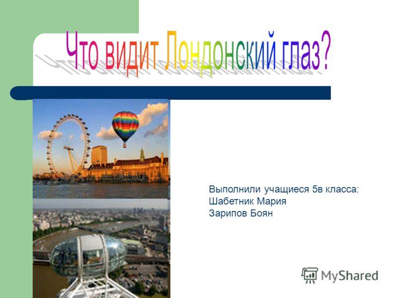 Выполнили учащиеся 5в класса: Шабетник Мария Зарипов Боян