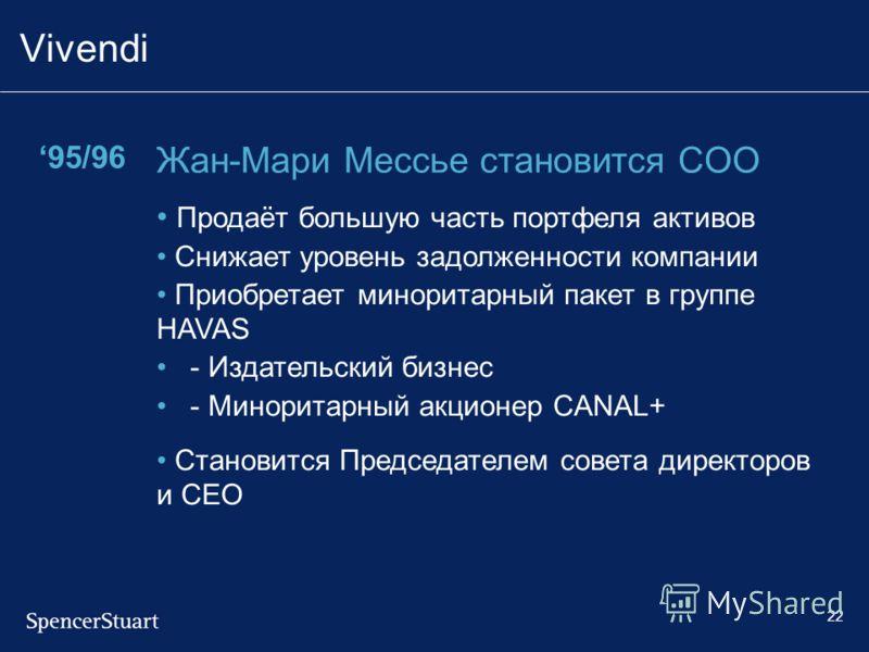 22 Vivendi 95/96 Жан-Мари Мессье становится COO Продаёт большую часть портфеля активов Снижает уровень задолженности компании Приобретает миноритарный пакет в группе HAVAS - Издательский бизнес - Миноритарный акционер CANAL+ Становится Председателем