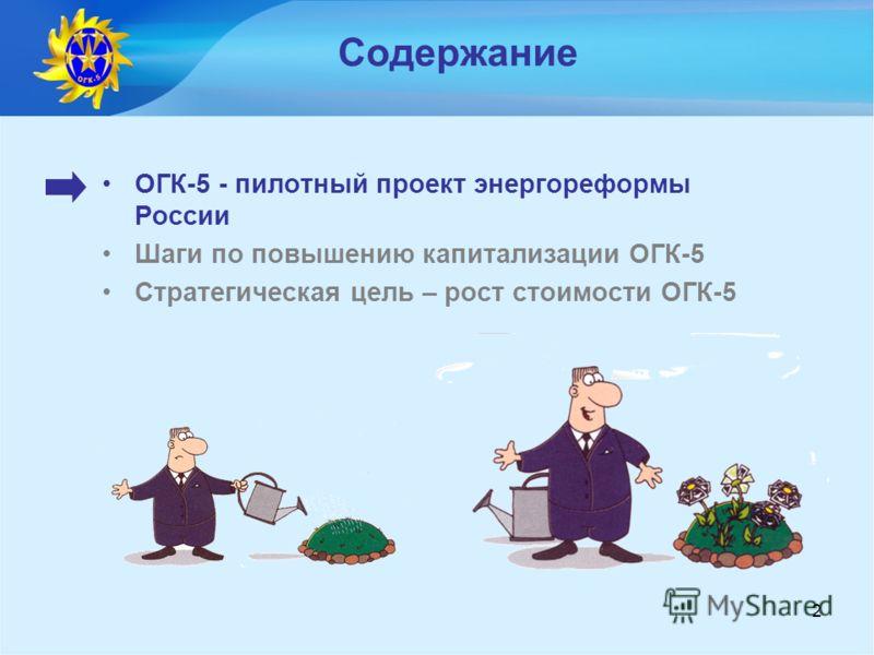 2 Содержание ОГК-5 - пилотный проект энергореформы России Шаги по повышению капитализации ОГК-5 Стратегическая цель – рост стоимости ОГК-5