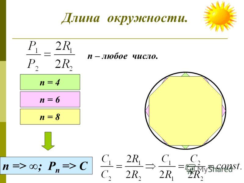 Длина окружности. Длина получившегося отрезка и есть длина окружности. С Р1Р1 Р2Р2 Найдите отношение периметров.