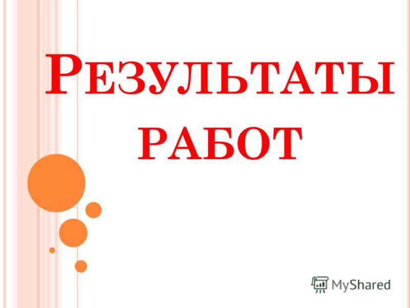 Р ЕЗУЛЬТАТЫ РАБОТ